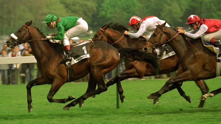 Valanour (green) lands a second Group 1 in the Prix Ganay as a four-year-old