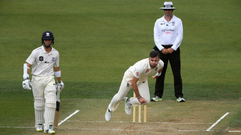 England bowler James Anderson in action against New Zealand Cricket XI