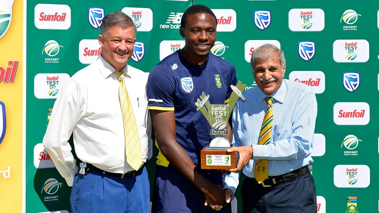 Kagiso Rabada with his second Test man of the match award