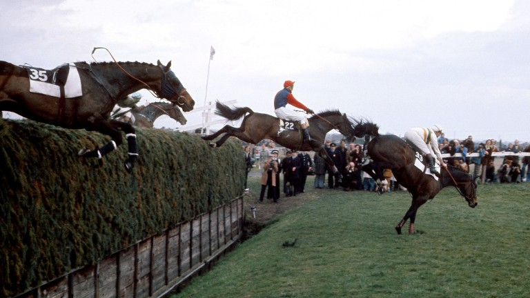 The Duke of Alburquerque and Nereo lie in second place behind Spittin Image at Becher's first time in the 1976 Grand National