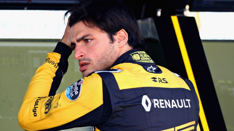 Carlos Sainz on the Renault pitwall during testing