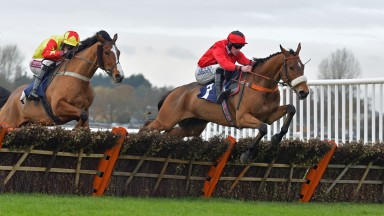 Craggaknock (left) in Stephen Burdett's company colours winning at Wetherby in November two years ago