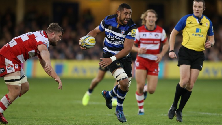 Taulupe Faletau breaks with the ball for Bath against Gloucester