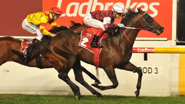 Hellben (white cap): on his way to winning the Group 1 William Reid Stakes on Friday