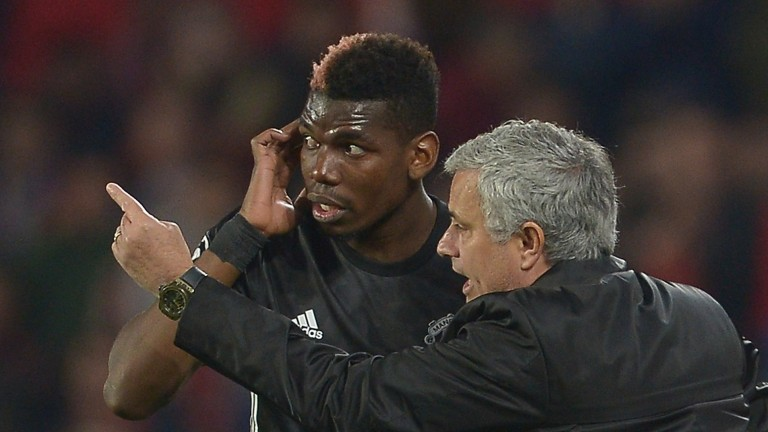 Man United boss Jose Mourinho gives orders to Paul Pogba