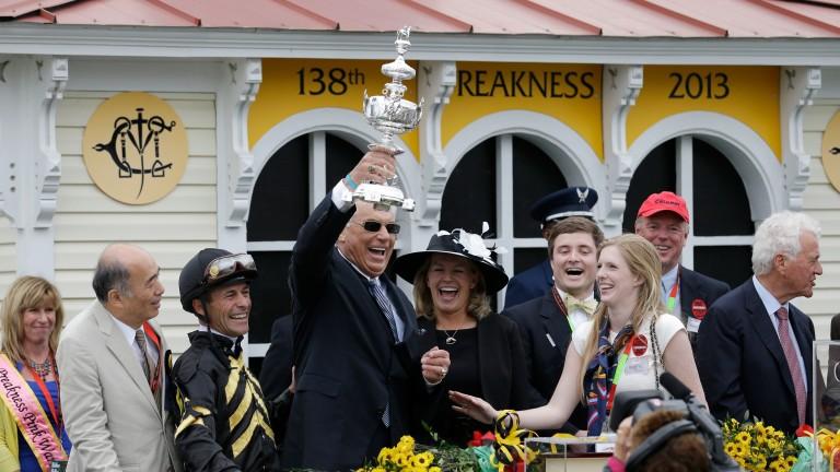 D Wayne Lukas (holding trophy) saddles Preakness second Bravazo
