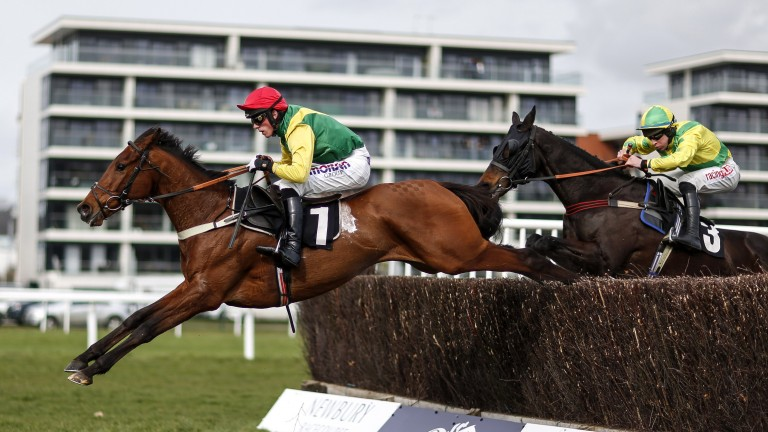 Back with a bag: Bally Longford soars over the last on his way to registering an overdue win