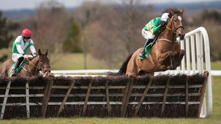 Seeing a stride: I Am Sailing breezes clear of his rivals to win the opening maiden hurdle