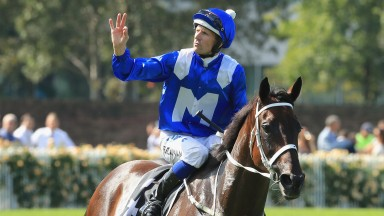 Hugh Bowman celebrates after partnering Winx to success in the George Ryder Stakes