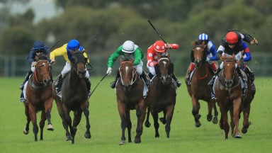 Estijaab and Brenton Avdulla (green silks, centre) make all to win the Group 1 Golden Slipper at Rosehill