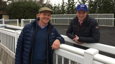Phil McEntee and Archie Watson enjoy the competition at Lingfield