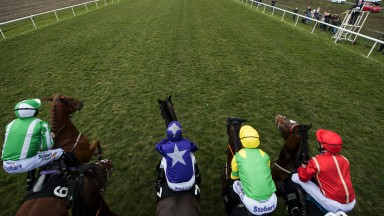 They're off: runners in the first race of the turf Flat season, the Listed Unibet Cammidge Trophy, leave the stalls