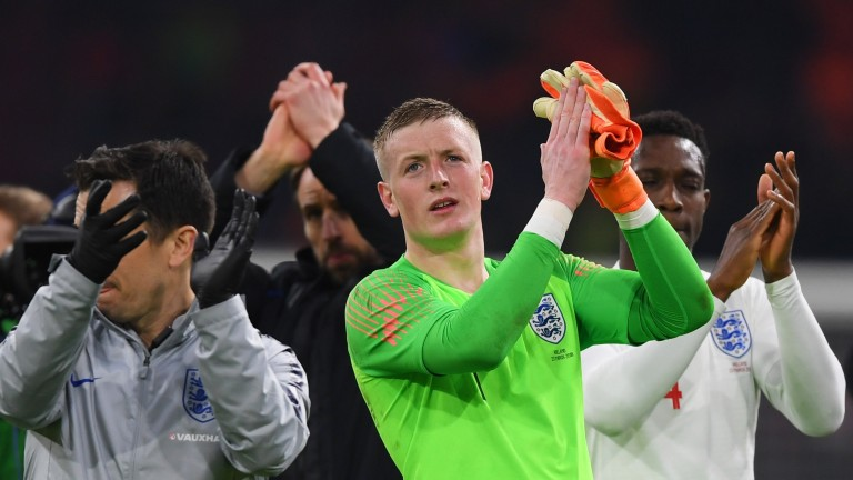 Jordan Pickford of England applauds the fans after England's win over Holland