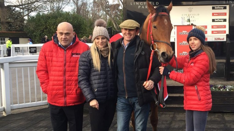 Spare Parts, with owner Steve Jakes (left) and trainer Phil McEntee