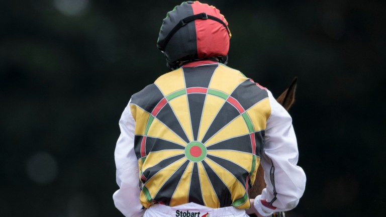 Killer colours: the new dartboard silks of owner Tiffin Sandwiches at Doncaster on Saturday