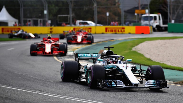 Lewis Hamilton leads the field early in the Australian Grand Prix
