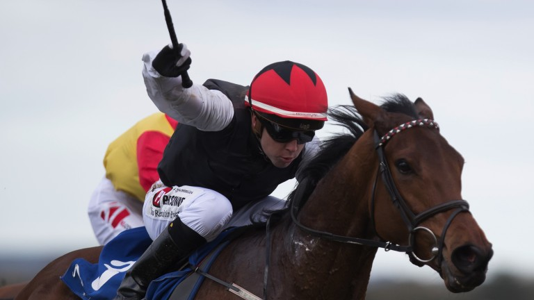 Leigh Roche crouches low in the saddle and pushes out Making Light to win the Group 3 Park Express Stakes at Naas in March