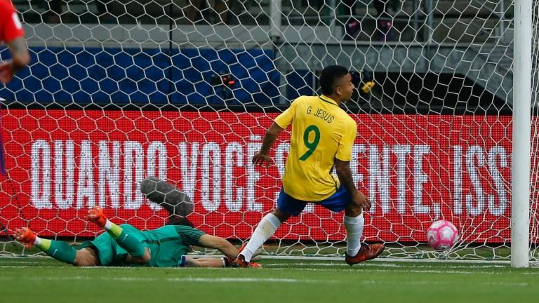 Gabriel Jesus scores a goal for Brazil against Chile