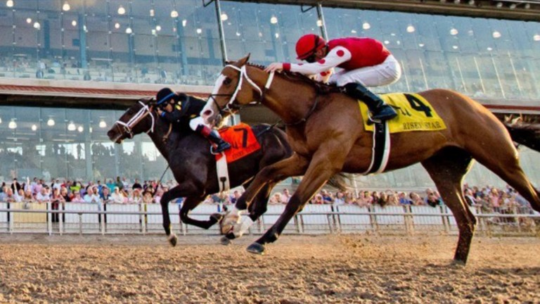 Almost: Beschizza and Snapper Sinclair (nearest) lose out by a nose on a first graded victory in the G2 Risen Star