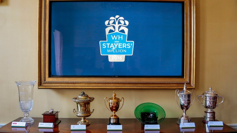 The trophies for the races in the Weatherbys Stayers' Million