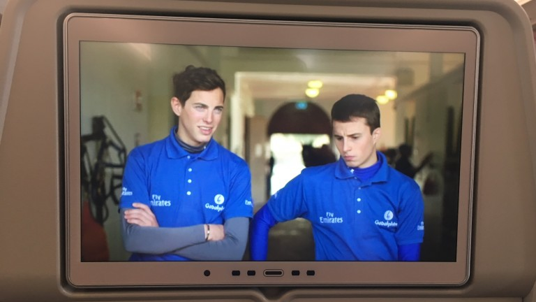Familiar faces: James Doyle and William Buick feature in a Team Godolphin video shown on the Emirates flight to Dubai