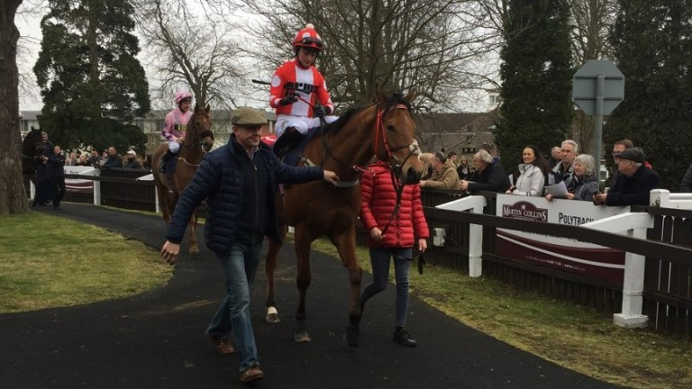 Spare Parts and Nicola Currie being led out by trainer Phil McEntee at Lingfield last week