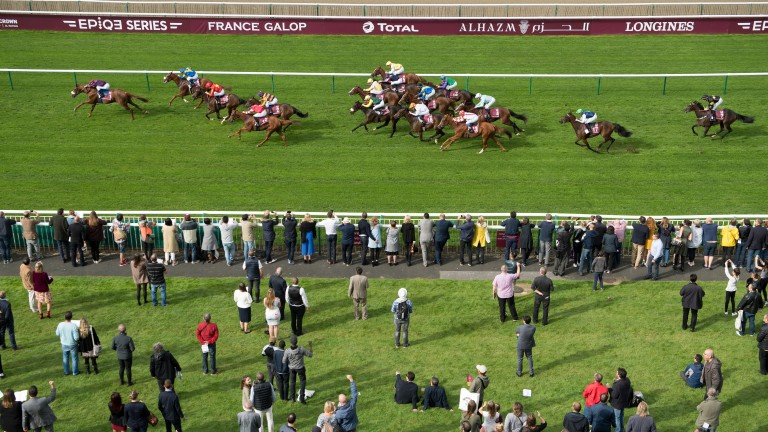 Runners driving for the line at Chantilly last September
