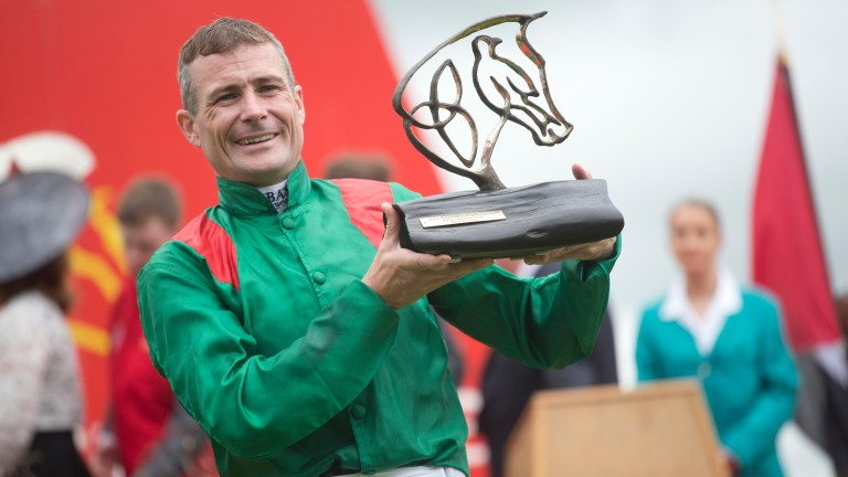 Pat Smullen celebrates after winning the Irish Derby on Harzand