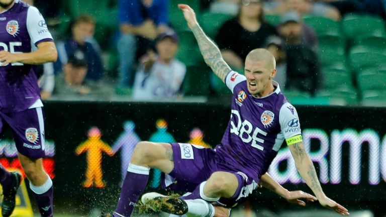 Perth top scorer Andy Keogh could worry the Sydney defenders