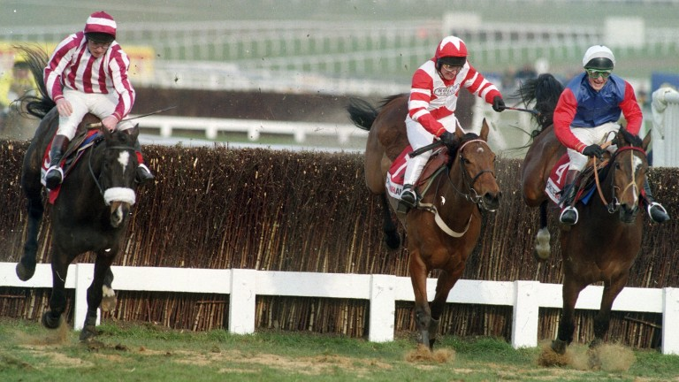 Klairon Davis (left) on his way to beating Viking Flagship (centre) and Sound Man in the Champion Chase