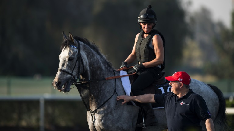 Work instructions: trainer Dean Ivory talks to Emily Crossman as she prepares to exercise Librisa Breeze