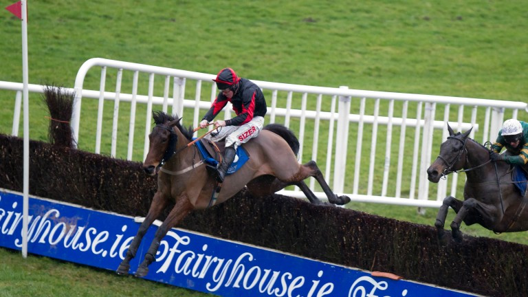 Lion Na Bearnai and Andrew Lynch clear the last when winning the Family Fun Days At Fairyhouse Rated Chase Fairyhouse Photo: Patrick McCann 01.02.2014
