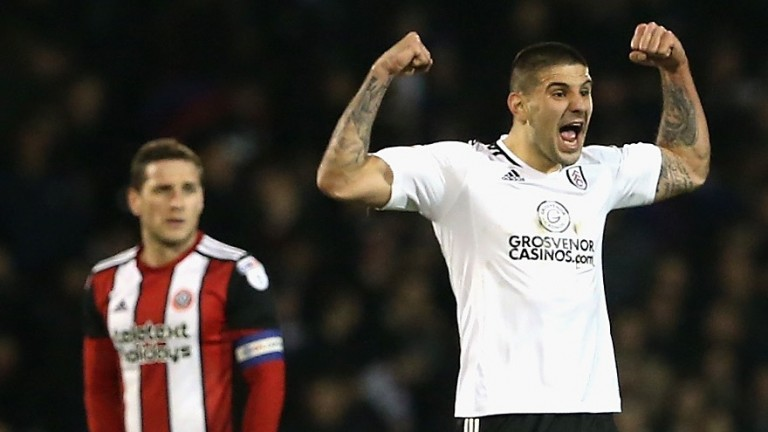 Fulham striker Aleksandar Mitrovic celebrates a goal against Sheffield United