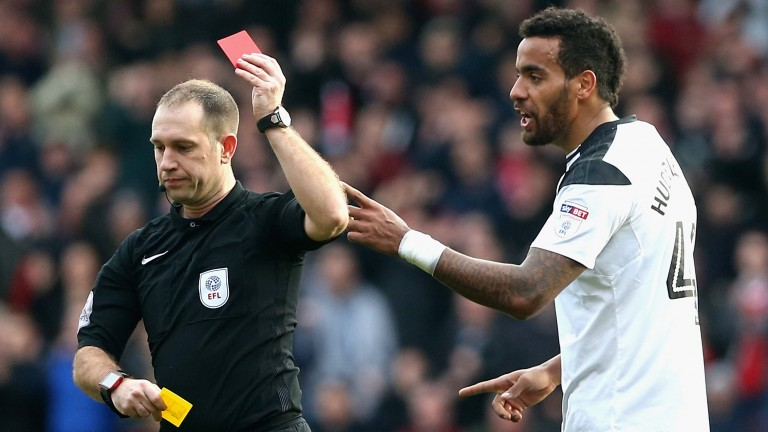 Tom Huddlestone's red card capped a frustrating day for Derby at Nottingham Forest