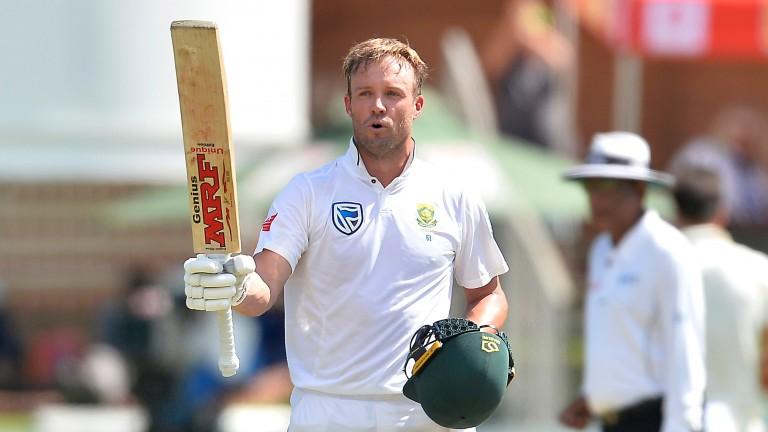 AB de Villiers celebrates his century against Australia in the second Test in Port Elizabeth