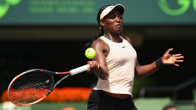 Sloane Stephens hits a forehand in her semi-final victory over Victoria Azarenka