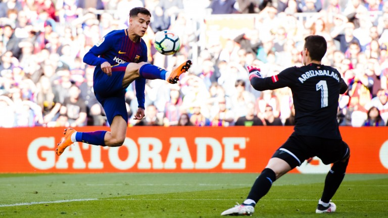 Philippe Coutinho flies into action for Barcelona