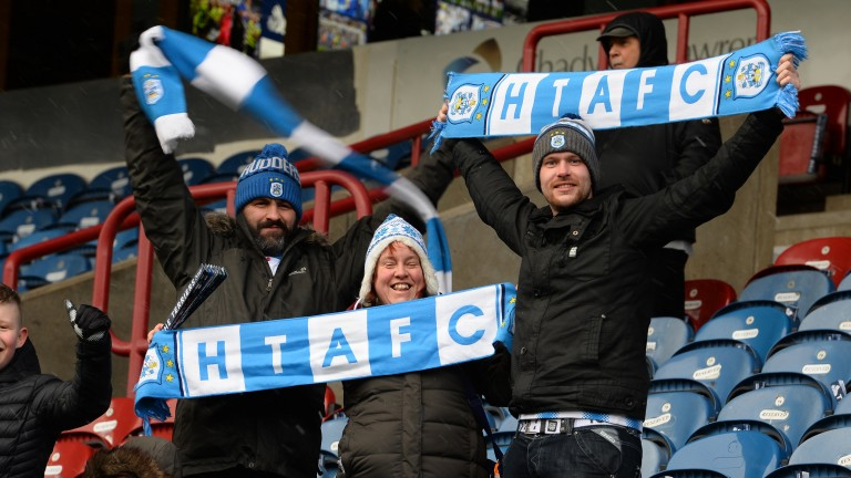 Huddersfield fans show their colours