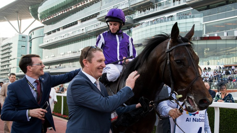 Victory parade: Mendelssohn and Ryan Moore are greeted by Aidan O'Brien and Pat Keating after storming to victory in the UAE Derby