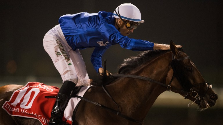 Thunderous victory: Thunder Snow and Christophe Soumillon are victorious in the Dubai World Cu
