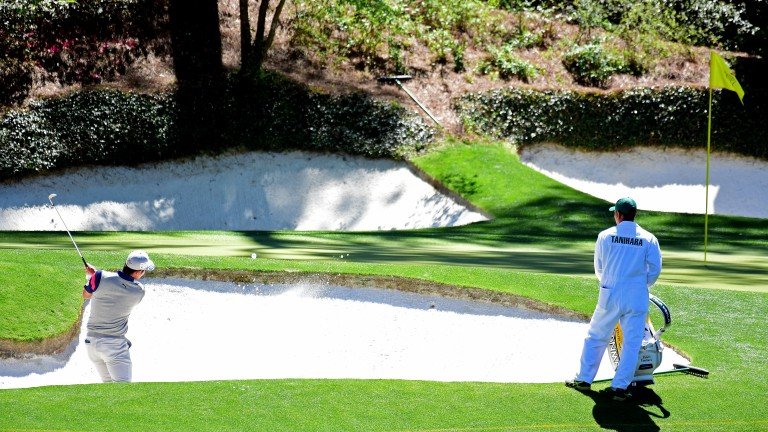 The front bunker is not the worst place to be on the 12th at Augusta National