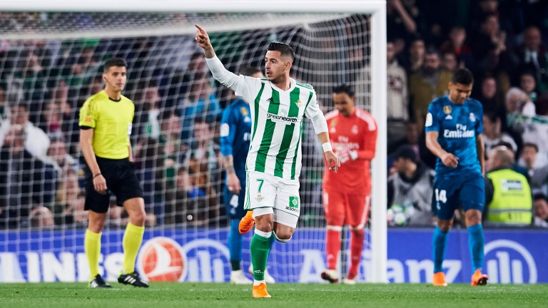 Sergio Leon of Real Betis celebrates