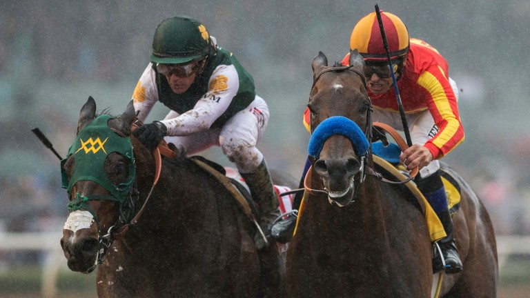 McKinzie and Mike Smith (right) battle with Bolt D'Oro at Santa Anita last month
