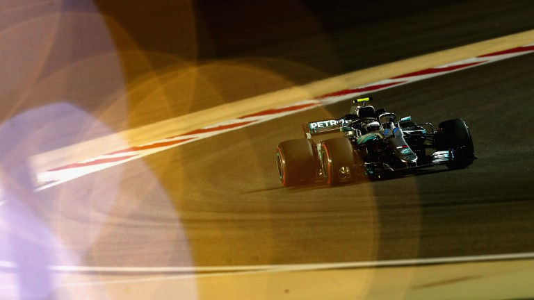 Valtteri Bottas under the lights of Bahrain during practice