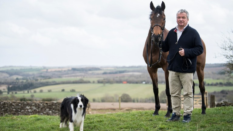Nigel Twiston-Davies with leading Grand National contender Blaklion and Stan the Border Collie