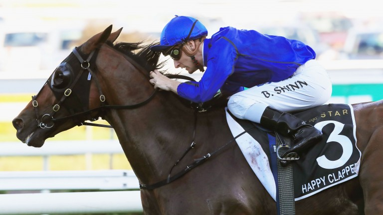 Blake Shinn steers Happy Clapper to victory in the Doncaster Mile