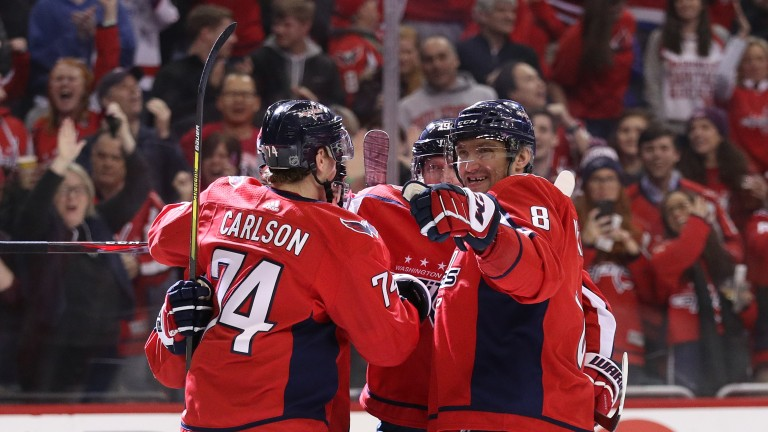 Alex Ovechkin (8) and John Carlson are key offensive players for the Washington Capitals