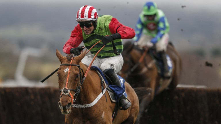 Definitly Red and Cook take the last clear in the BetBright Trial Cotswold Chase at Cheltenham in January