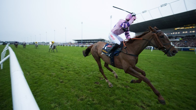 Champion again: Noel Fehily celebrates as Silviniaco Conti draws clear to win a second King George