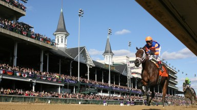 The winner Uncle Mo finishes the Juvenile at Churchill Downs on day 2 of The Breeders Cup.Louisville 6.11.10 Pic:Edward Whitaker